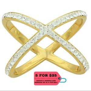 Jewelry - NWT Large X Crystal Ring Gold Plating